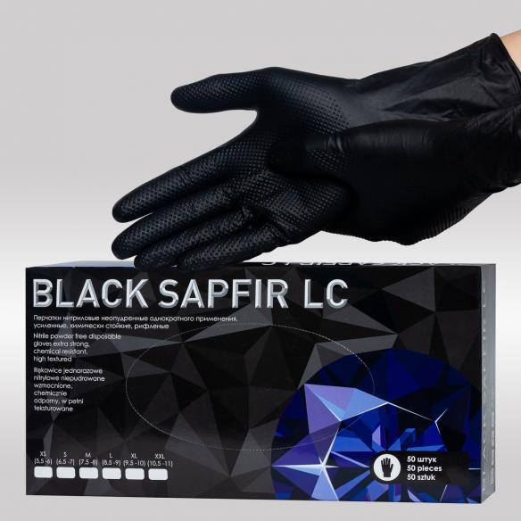 Black Sapfir LC нитриловые перчатки усиленные, удлиненная манжета К20Щ20